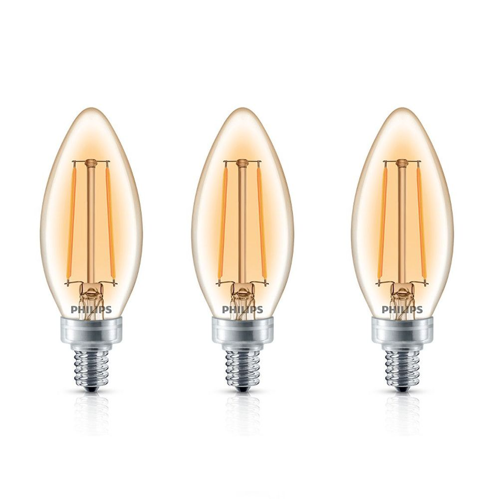 Philips LED 40W Chandelier CanBase Soft White Amber Glass 3Pk