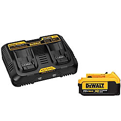DEWALT 20V MAX XR Lithium-Ion Premium Battery Pack 4.0Ah and Dual Port Charger with (2) USB Ports