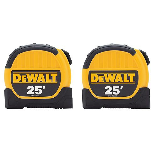 DEWALT 25 ft. x 1-1/8-inch Tape Measure (2-Pack)