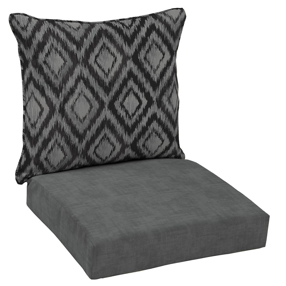 Hampton Bay Patio Deep Seating Or Outdoor Dining Chair Cushion In Black Jackson Ikat Diamond 2 Piece
