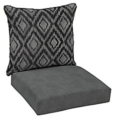 Patio Deep Seating or Outdoor Dining Chair Cushion in Black Jackson Ikat Diamond 2-Piece
