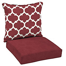 Patio Deep Seating or Outdoor Dining Chair Cushion in Frida Trellis - 2-Piece