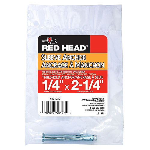 Red Head 1/4 x 2-1/4-Inch Slotted Flat Head Threshold Sleeve Anchor - 1pc