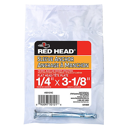 1/4 x 3-1/8-Inch Flat Head Sleeve Anchor - 1pc