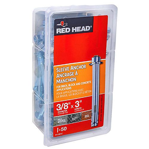 3/8 x 3-Inch Hex Head Sleeve Anchors - 50pcs