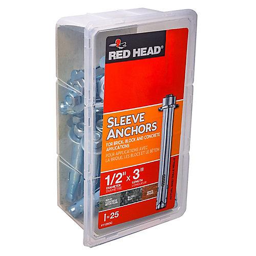 1/2 x 3-Inch Hex Head Sleeve Anchors - 25pcs