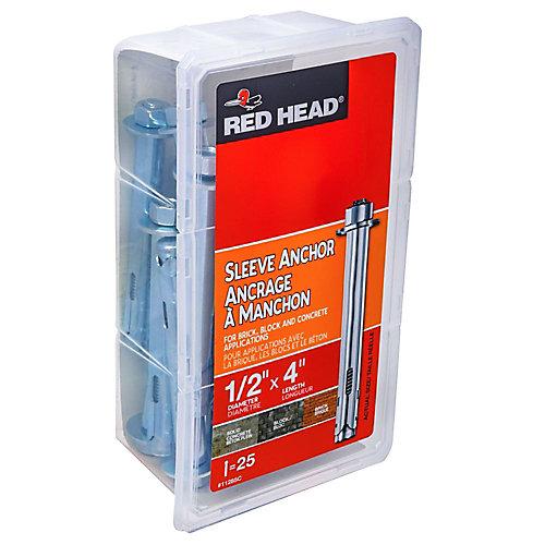 1/2 x 4-Inch Hex Head Sleeve Anchors - 25pcs