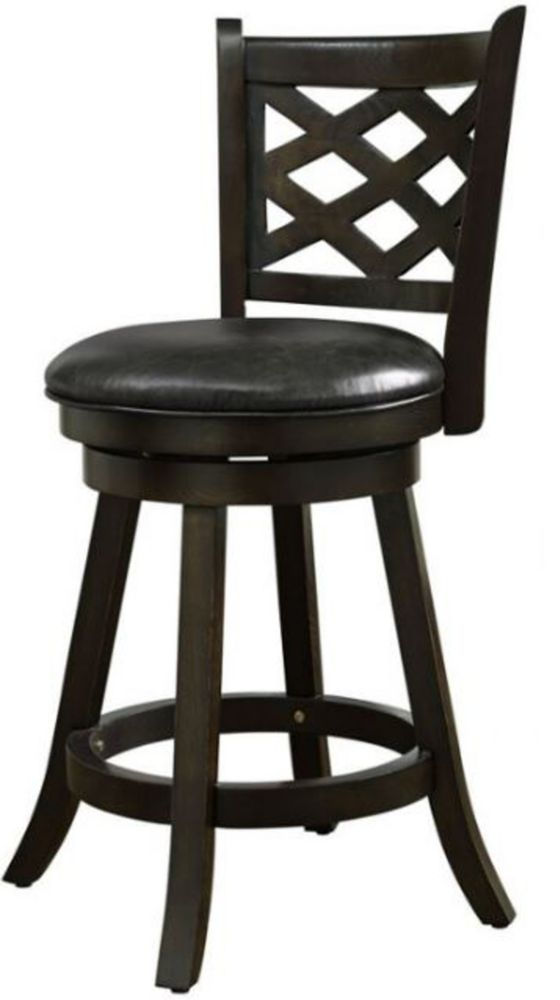 Solid Wood Espresso Contemporary Full Back Armless Bar Stool with Espresso Faux Leather Seat