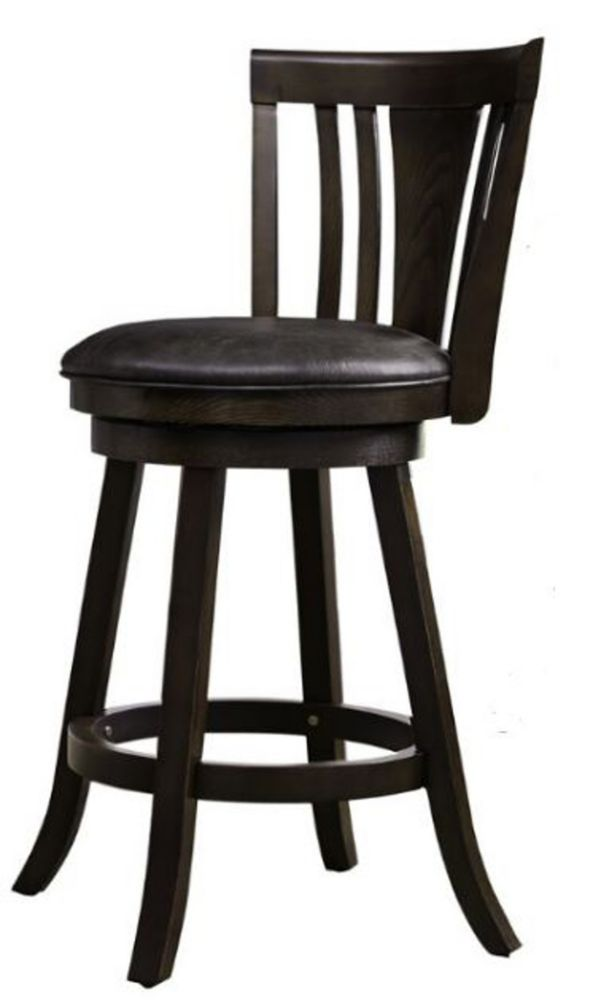 Solid Wood Espresso Contemporary Full Back Armless Bar Stool with Black Faux Leather Seat