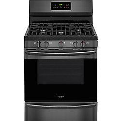 cuisinière à gaz de 30 po. 5,0 pi. cu. avec autonettoyant et convection en acier inoxydable noir
