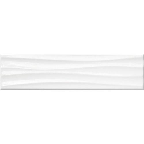 4-inch x 16-inch Metro Wavy White Gloss Wall Tile