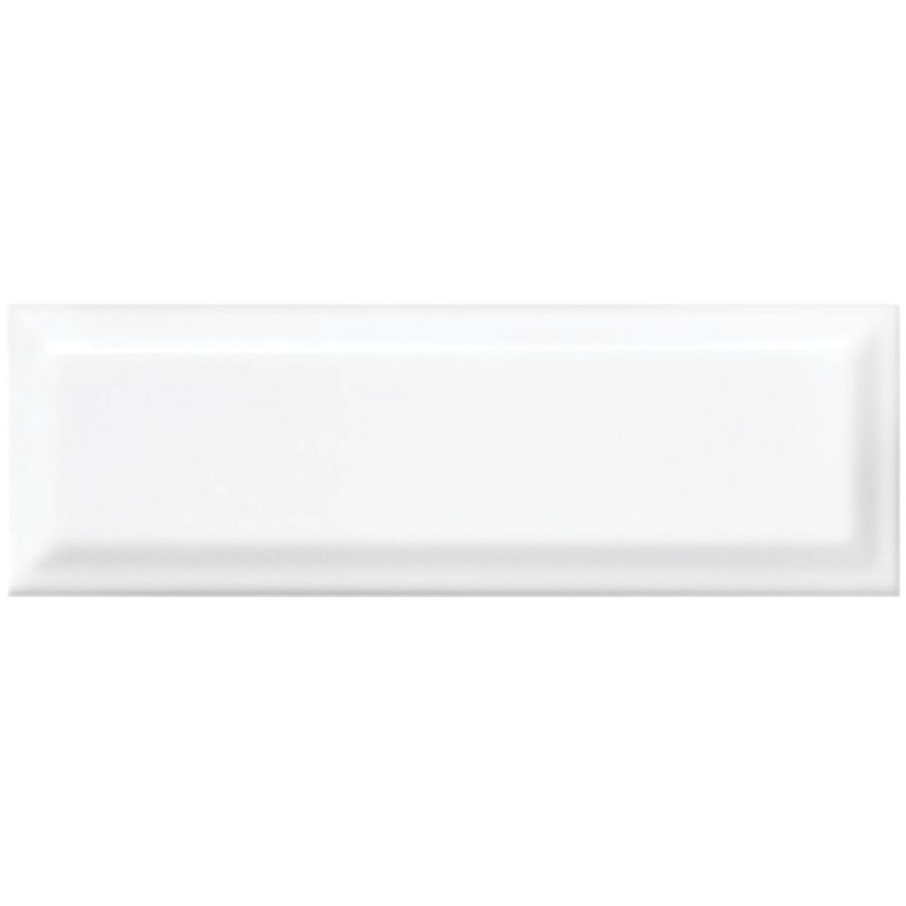 Enigma 4-inch x 12-inch Metro Beveled White Gloss Wall Tile