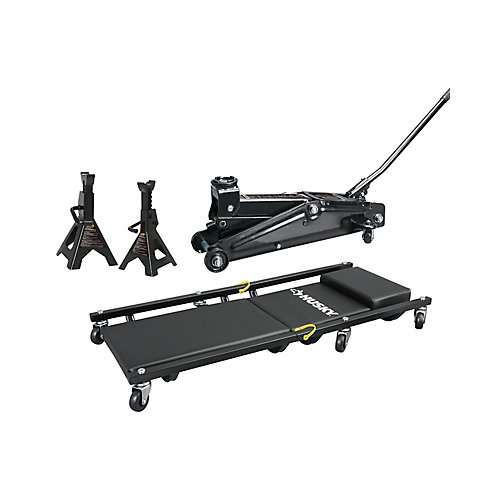 3 Ton Trolley Jack with Stands and Creeper