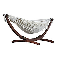 8 ft. Double Cotton Hammock in Natural with Solid Pine Arc Stand