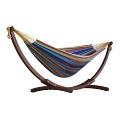 Vivere 8 ft. Double Cotton Hammock in Tropical with Solid Pine Arc Stand