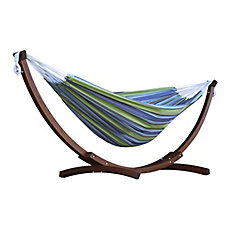 8 ft. Double Cotton Hammock in Oasis with Solid Pine Arc Stand