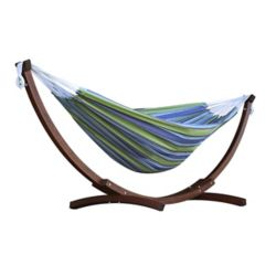 Vivere 8 ft. Double Cotton Hammock in Oasis with Solid Pine Arc Stand