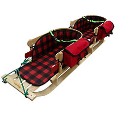 Frontier Twin Sleigh with plaid pads, support strap, pouch