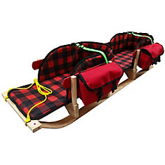 Traditional double up sleigh with plaid pad, support strap, pouch