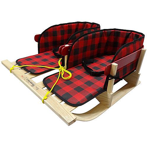 Traîneau à deux places avec coussinets plaids ceinturés