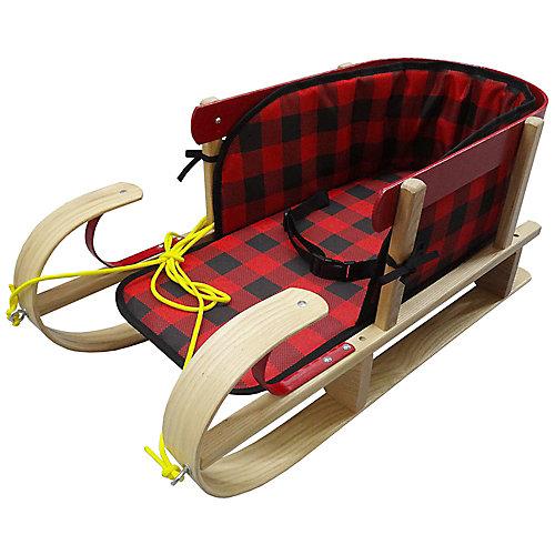 Traîneau traditionnel Snowkiss avec coussinet plaid ceinturé