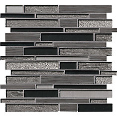 Bodega 12-inch x 12-inch Interlocking Glass/Stone Blend Mesh Mounted Mosaic Wall Tile