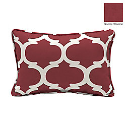 Hampton Bay 13 X 20 X 5 inch Frida Trellis Lumbar Outdoor Throw Pillow in Red