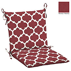 Hampton Bay Frida Trellis Outdoor Dining Chair Cushion in Red & Rouge