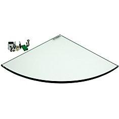 9-inch x 9-inch Tempered Glass Corner Shelf - 8 mm Surface Mount w/hardware