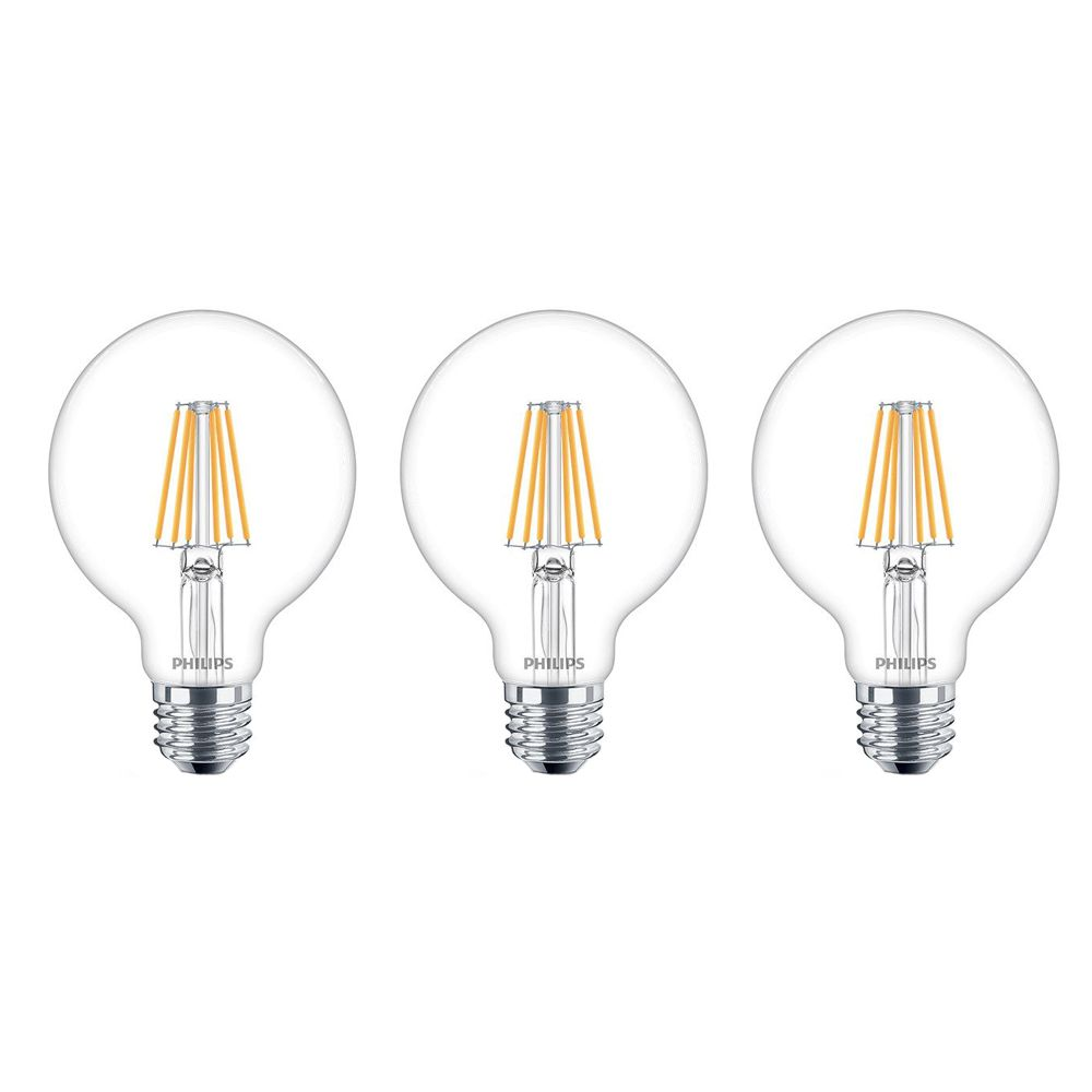 Philips Led 6w 50w Mr16 Medium Base Bright White 3000k: Philips LED 40W G25 Globe Soft White WarmGlow Clear Glass