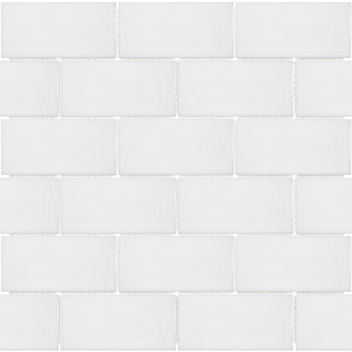 Metro Subway 2-inch x 4-inch Brick White Gloss Porcelain Mosaic Tile (0.8 sq. ft. / piece)
