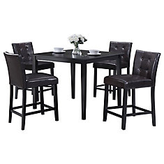 42-inch x 42-inch x 36-inch Rubberwood Veneer Dining Table in Black with 4 Leather Chairs in Black