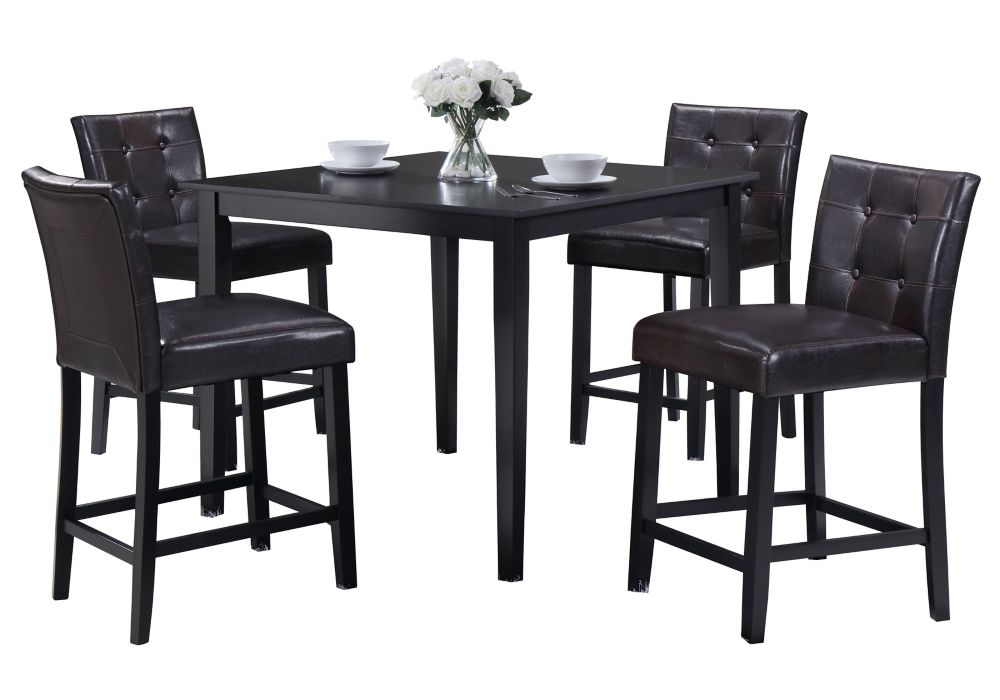DURAWOOD 42-inch x 42-inch x 36-inch Rubberwood Veneer Dining Table in Black with 4 Leather Chairs in Black