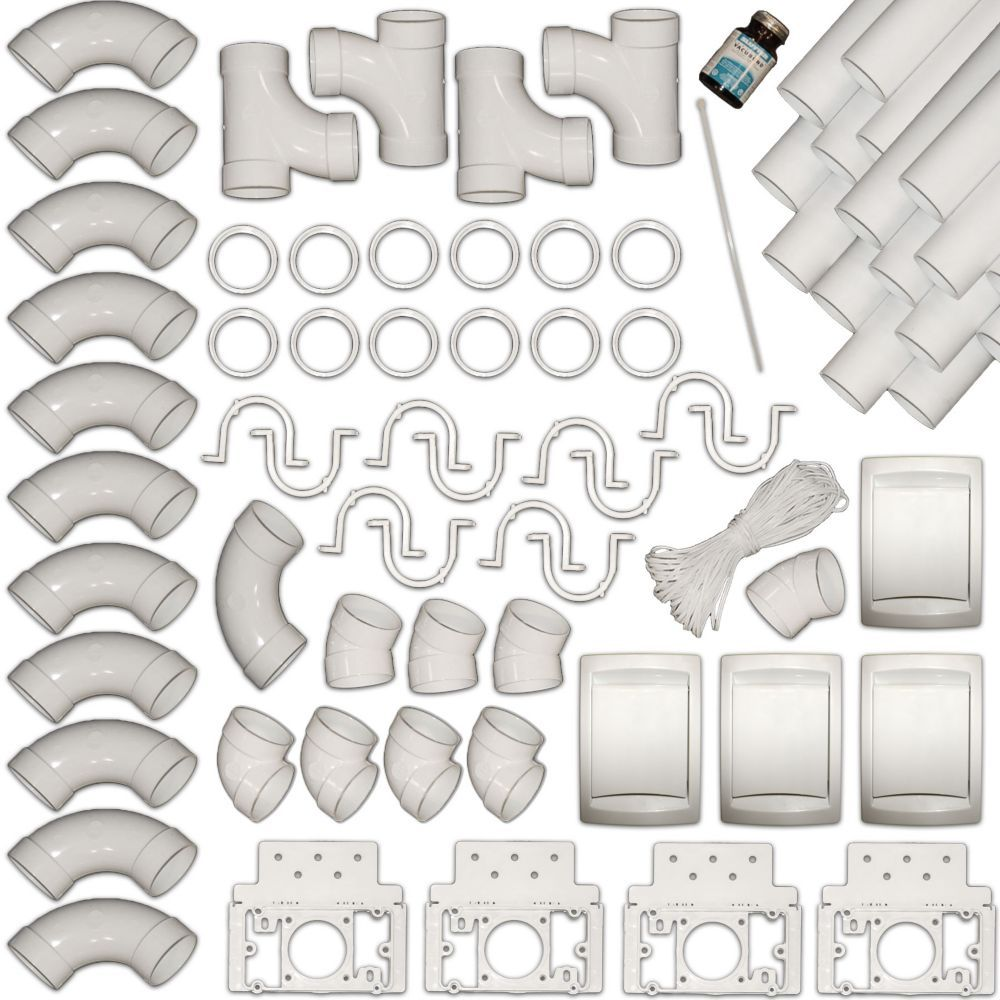 Complete 4-Inlet Central Vacuum Piping Installation Kit