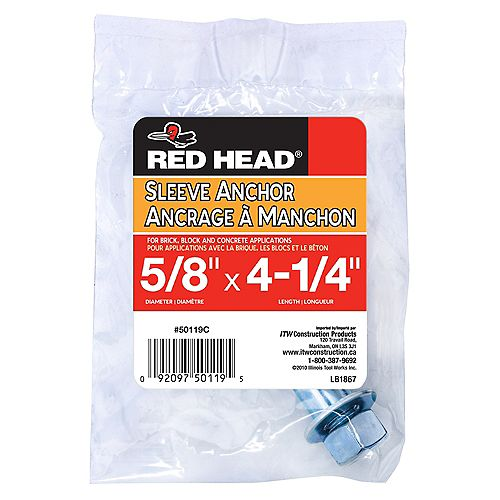 Red Head 5/8 x 4-1/4-Inch Hex Head Sleeve Anchor - 1pc