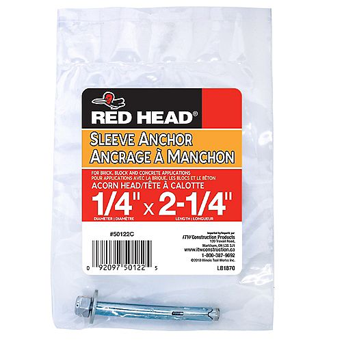Red Head 1/4 x 2-1/4-Inch Acorn Head Sleeve Anchor  - 1pc