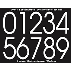 Modern Self-Adhesive Numbers Kit, White - 4 Inches
