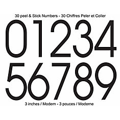 Modern Self-Adhesive Numbers Kit, Black - 3 Inches