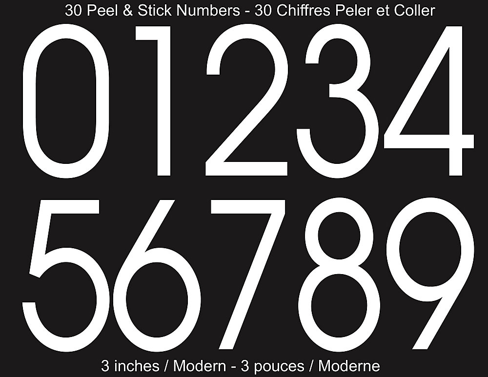 Modern Self-Adhesive Numbers Kit, White - 3 Inches