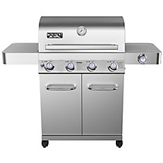 4-Burner Propane BBQ in Stainless with LED Controls, Side-Burner and Rotisserie Kit