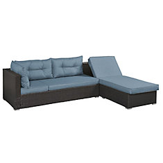 Halton Outdoor Modular Convertible with Left or Right Chaise Option, Blue