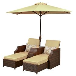 Lifestyle Solutions Foxley Outdoor Dual Convertible Reclining Chairs with Umbrella in Sand