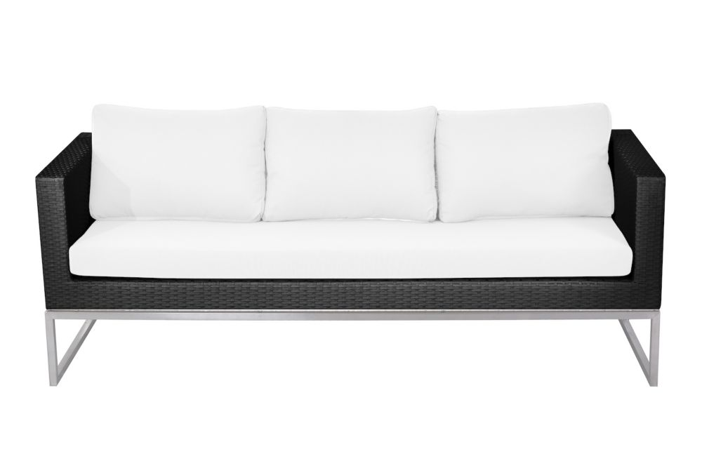 f4ab9ecd0dacc1 Capriasca All-Weather Wicker Patio 3-Seater Sofa with White Cushion Photo  of product