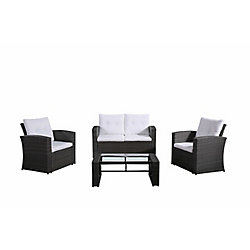 Velago Lamone 4-Piece All-Weather Wicker Patio Conversation Set with White Cushions