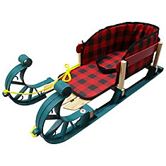 Alpine Kinder Sleigh with belted plaid pad