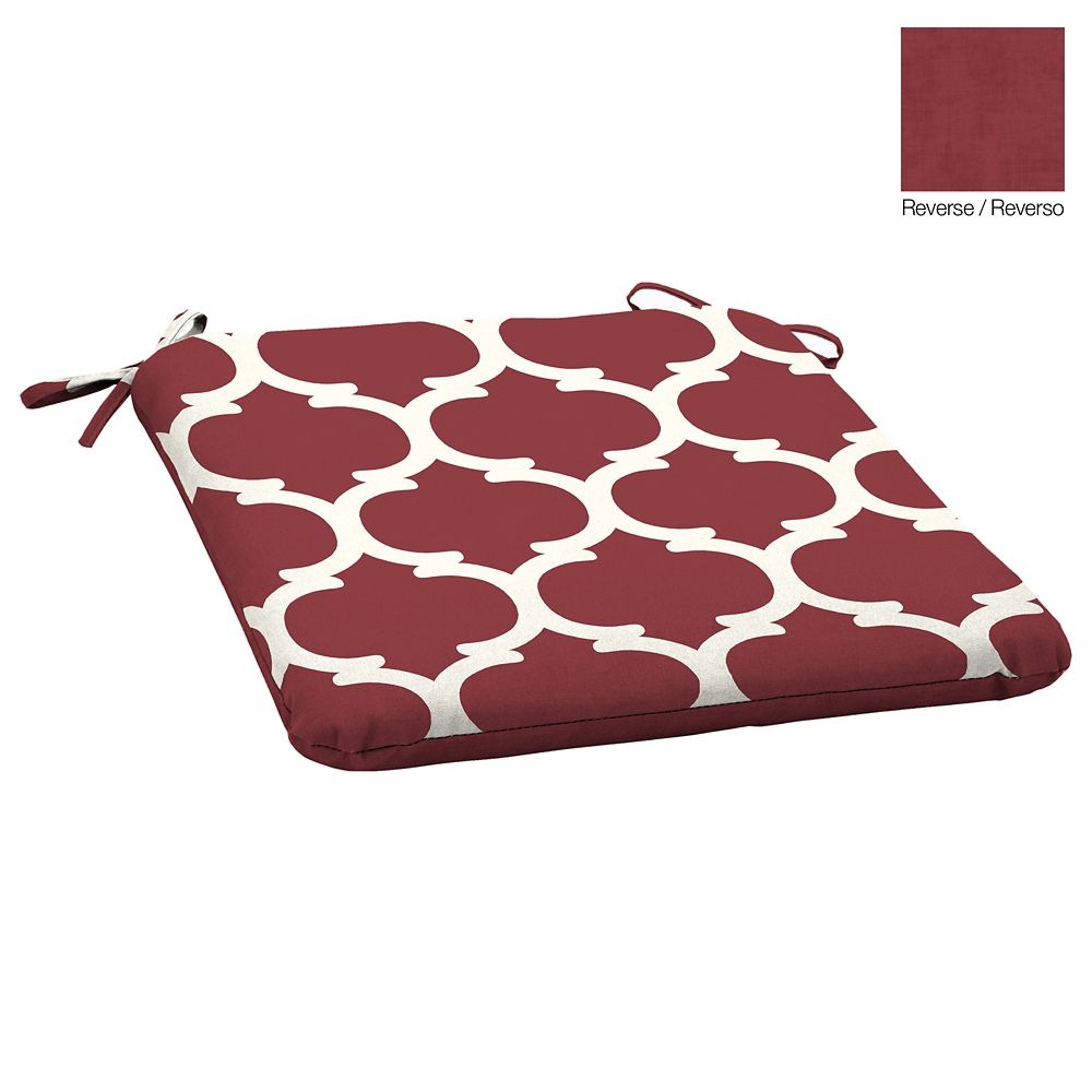 Hampton Bay 19.75 -inch L x 20 -inch W x 2.5 -inch Thick Outdoor Seat Pad with Red Frida Trellis