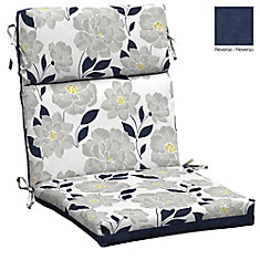 High Back Outdoor Dining Chair Cushion in Floral