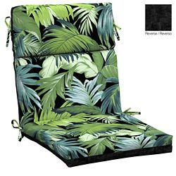 Hampton Bay High Back Outdoor Dining Chair Cushion in Black Tropicalia