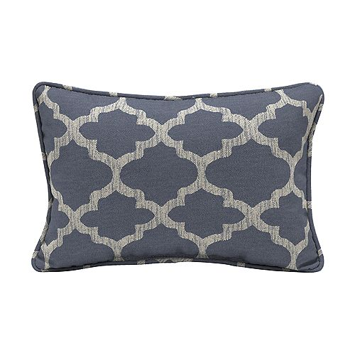 Hampton Bay CushionGuard Midnight Trellis Lumbar Outdoor Throw Pillow