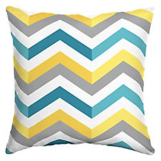 16 X 16 X 5 inch Outdoor Throw Pillow with Geo Multi Chevron Square